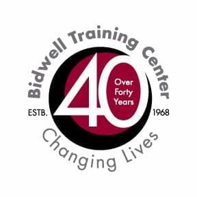 A 40th anniversary logo for Bidwell Training Center